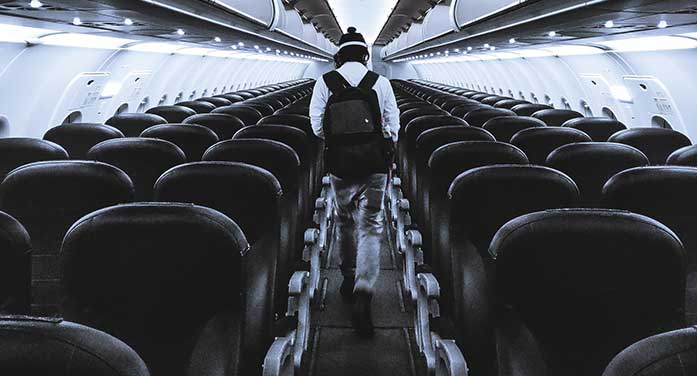 empty airplane travel restrictions flying